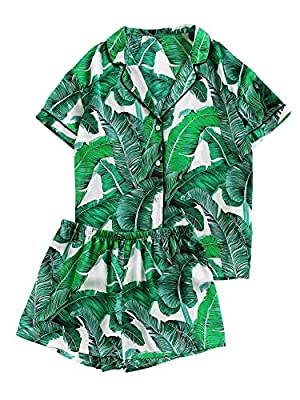 Floerns Women's Notch Collar Palm Leaf Print Sleepwear Two Piece Pajama Set Green XL