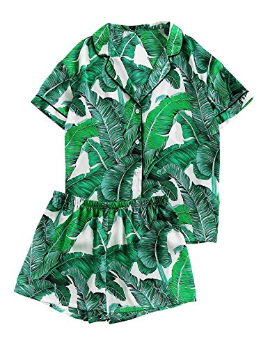Floerns Women's Notch Collar Palm Leaf Print Sleepwear Two Piece Pajama Set Green S