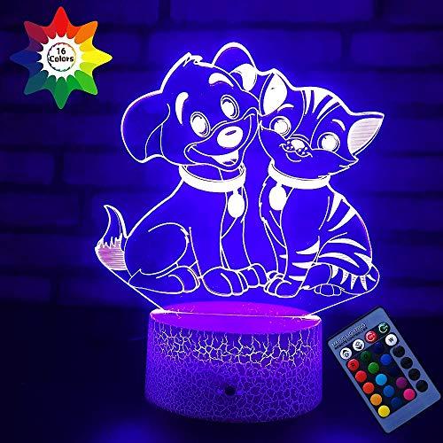 YTDZ Optische Täuschung 3D Husky Hund Nachtlicht 16 Farben wechselnde USB Power Fernbedienung Touch Switch Decor Lampe LED Tischlampe Kinder Weihnachten Geburtstag Geschenk