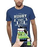 PIXEL EVOLUTION T-Shirt 3D Rugby Start Jeux Video en Réalité Augmentée Homme - Taille L - Bleu Royal