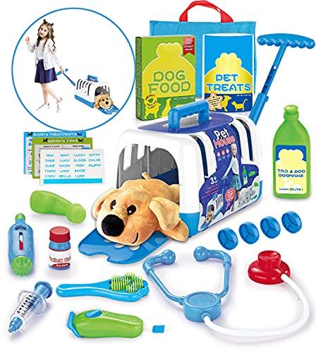 STAY GENT Kit de Maletín Veterinario Accesorios Juegos de Imitación Veterinario Juguete con Portador de Perros con Barra de Acoplamiento y Perro de Peluche Regalos para Niños Niñas 3 4 5 6 7 Años