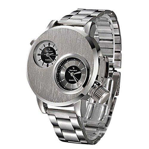 Holeider Mode Herren-Armbanduhr | Uhren für Herren | Männer Elegant Dekoration Geschenk Quarzwerk | Klassisch Römische Ziffern Quarzuhr Analog | Metallzugarmband Stoppuhr (Silber)