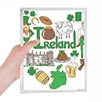アイルランドの愛の心の風景の国旗 硬質プラスチックルーズリーフノートノート
