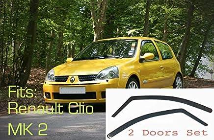 2x Deflectores de Aire Compatible con Renault Clio 1998 - 2005 Mk2 3 Puertas Derivabrisas protección