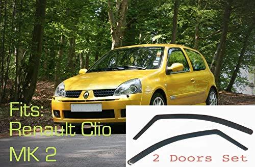 2x Windabweiser kompatibel für Renault Clio MK2 3-Türer 1998 1999 2000 2001 2002 2003 2004 2005 Premium Qualität Acrylglas PMMA Regenabweiser Abweiser