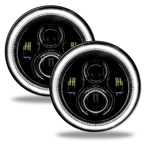 ORACLE Wrangler JL 7in. High Powered LED Headlights (Pair) - Pair LED Headlights with Color Halo Compatible with Jeep Wrangler (White) - Part # 5769-001