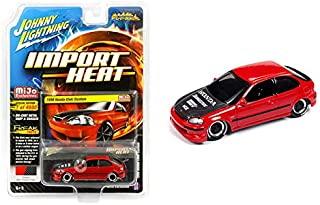 1998 Honda Civic Custom Red with Carbon Hood Street Freaks Series Limited Edition to 4,800 Pieces Worldwide 1/64 Diecast Model Car by Johnny Lightning JLCP7173