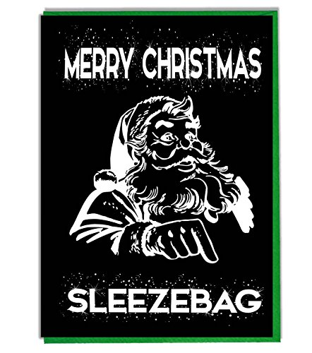 Grappig/Rude/Joke Kerstkaart - Vrolijk Kerstmis Slaapzak (Krijtbord Effect)