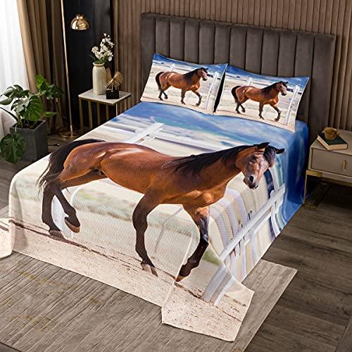 Gesteppte Tagesdecke, galoppierendes Pferd, 3D-Tiermuster, Deckenset für Jungen, Mädchen, Kinder, Teenager, Schlafzimmer, Dekoration, Bauernhaus-Thema, gesteppt, Doppelgröße mit 1 Kissenbezug
