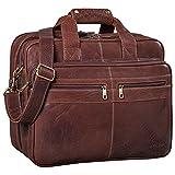 STILORD 'Alexander' Bolso de Negocios o maletín Grande de auténtica Piel para Hombres Bolsa de Mensajero o Bandolera para portátiles Oficina y Universidad, Color:maraska - marrón Oscuro