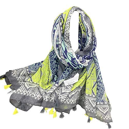 WEIJIN Schal Big Size Schals Strandtuch Weibliche Tücher und Schals Frauen Neongelb Farbe Plaid Schal