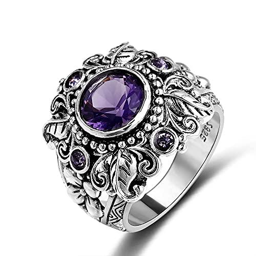DJMJHG Vintage 100% 925 joyería de Plata esterlina Anillos de Piedras Preciosas de Amatista púrpura Natural para Mujeres Hombres 6 púrpura
