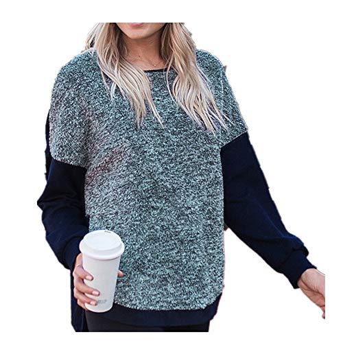 YUHUALI 2019 Modelli Esplosione Autunno e Inverno Donna Cuciture Felpate Divise Davanti Corto Lungo Lungo Maglione Allentato Donna Tibetano Blu XL