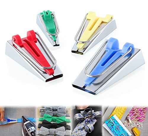 ilauke Lot de 4 Appareils à Biais / Bandes de Tissus de Tailles Différentes pour Fabriquer Largeur 6mm 12mm 18mm 25mm
