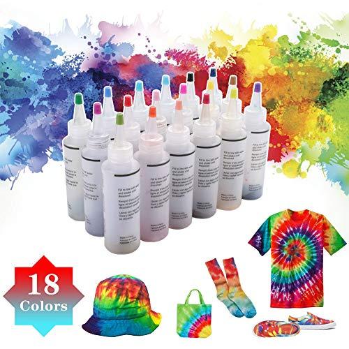 Tie Dye Kit, 18 Stück Textilfarben Mode Bastelsets für Kinder DIY Kleidung Graffiti Dye für DIY-Projekte und Partyaktivitäten