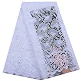 Zhangooqi Swiss Voile Lace in Switzerland African Dry Lace Fabric Eyelet Holes Cotton for Party Dress (Color : White, Size : 5 Yards)