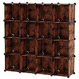 SONGMICS 16-Cube Storage Unit, Shoe Rack, DIY Shelving System, Stackable Cubes, PP Plastic Shelf, Wardrobe, Closet Divider, for Bedroom, Office, Rustic Brown ULPC442A01
