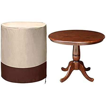 Amazon Com Cheng Yi Small Circular Table Cover Garden Outdoor Round Patio Table Chair Cover Polyester Silver Coating Waterproof Patio Furniture Covers With Drawing String Design Cyfc79 Khaki Brown Furniture Decor