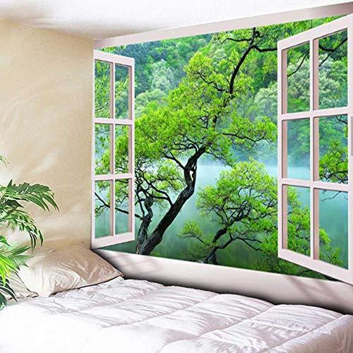 Hermoso tapiz natural de pared grande con estampado de bosque, vista al mar, hippie para colgar en la pared bohemia, tapices de pared de mandala