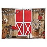Funnytree 7x5FT Durable Fabric Western Cowboy Scene Photography Backdrop Red Barn Door Farm BBQ Party Decoration Background Photo Booth
