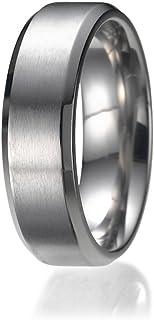 NDSTORE 7MM High Polish/Matte Finish Men's Titanium Ring Wedding Band Sizes 9 to 13