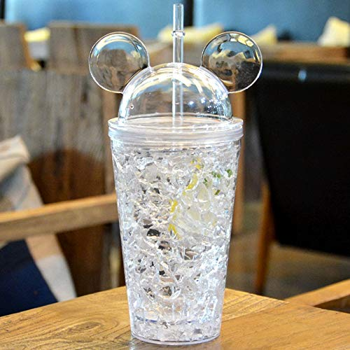 Termos y Copas Botella de Bebida AS-Made a Prueba de Fugas de 450 ml, con una Linda Gorra con Tapa y Paja para el día de Verano Termos y Copas (Color : Blanco)