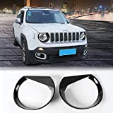 JeCar Angry Eyes Headlights ABS Headlight Trim Angry Bird Head Lights Bezel Lamp Cover for Jeep Renegade 2015 2016 2017 2018(Black)