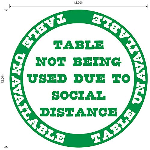 'Table Unavailable' Social Distancing COVID-19 (Coronavirus) Durable Vinyl Decal- 12' Sign by Graphical Warehouse- Safety and Security Signage, Visual Communication Tool (Green)