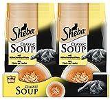 Sheba Classic Soup, Hühnchenbrustfilets Katzenfutter als Snack zur Ergänzung, Für den Saucen-Liebhaber