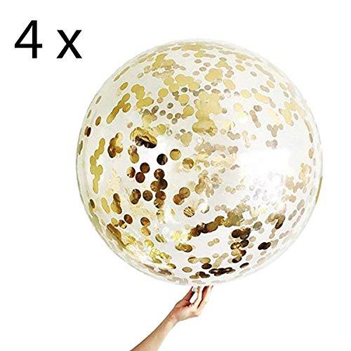 4 Gouden Confetti-ballonnen XXL Reuzengrote Transparante Ballon met Metalen Confetti, Decoratie voor Nieuwjaar, Verjaardag en Afstudeerfeestje