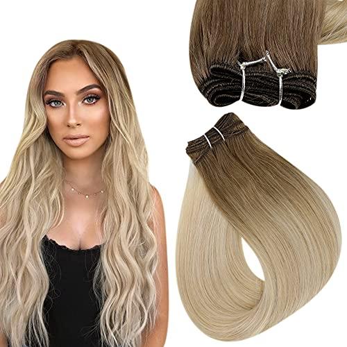 Easyouth Weave Tressen Echthaar Weft 16 Zoll Farbe Mittelbraun Mix Honigblond und Platinblond 80g Remy Haartressen Echthaar Remy Extensions