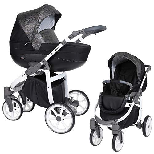 KUNERT Kinderwagen MASTER Sportwagen Babywagen Autositz Babyschale Komplettset Kinder Wagen Set 2 in 1 (Schwarz mit Blitz, Rahmenfarbe: Weiß, 2in1)
