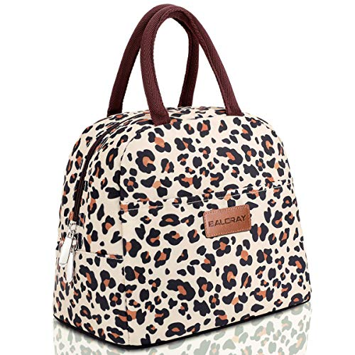 BALORAY Lunch Bag Tote Bag Lunch Bag for Women Lunch Box Insulated Lunch Container Beige with leopard