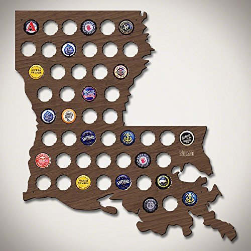 """Wall Decor Leiacikl22 Designed Louisiana Beer Cap Map Wood Bottle Beer Cap Collector Cool Christmas Gifts for Dad 16.93 x 15.75"""""""