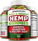 Maxibears High Potency Hemp Gummies - Enhance Mood and Immune Support - Rich in Vitamins B, E & Omega 3-6-9 - Made in USA