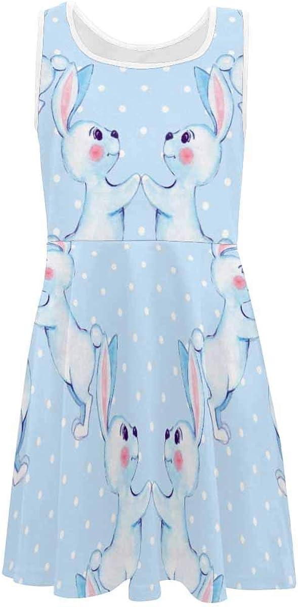 InterestPrint Girls Sleeveless Casual Dresses School Party Beach Cartoon Tiger Cubs (2T-XL)
