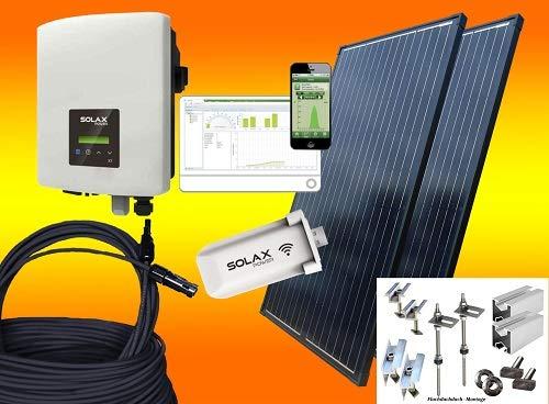 Solax 600Watt Balkonkraftwerk MIT MONTAGEMATERIAL FLACHDACH mit Stockschrauben/Solaranlage mit Internetüberwachung bau-tech Solarenergie GmbH