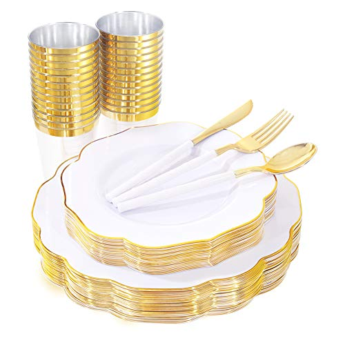 BUCLA 180PCS White And Gold Plastic Plates With Bamboo Design Disposable Plastic Silverware& Gold Plastic Cups- Gold Plastic Dinnerware Includes 60Gold Plates 30Gold Cups 30Forks 30Knives 30Spoons
