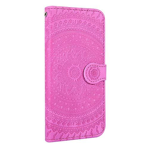 Tosim Coque [Huawei P10 Lite], Portefeuille Étui en Cuir Synthétique Fonction Stand Case Housse Folio à Rabat Compatible avec Huawei P10Lite - TOHME020560 Rose Rouge