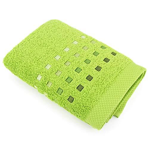 Linnea - Toalla de baño (50 x 100 cm, 100 % algodón, 550 g/m2), color verde pistacho