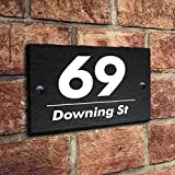 Natural Slate House Gate Sign Plaque Door Number Personalised Name UV Printed Hand Finished in UK(15x10cm Rectangle)