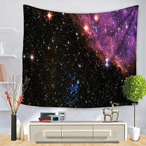 XIAOBAOZIGT Tapijt, Hippie Starry, universe-serie, wandbehang, zwarte nevel, 3D-digitale bedrukking, deken, kussen, yogamat, hangende decoratie voor thuis 150×130cm