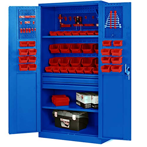 Jan Nowak by Domator24 Werkzeugschrank TC02AM Werkstattschrank mit Schubladen Flügeltüren 3 Fachböden Pulverbeschichtung 185 cm x 92 cm x 50 cm (blau), Metall