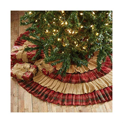 Whitton Ruffled Christmas Tree Skirt Natural Burlap/Red Green Plaid | Sparky's Treats & More