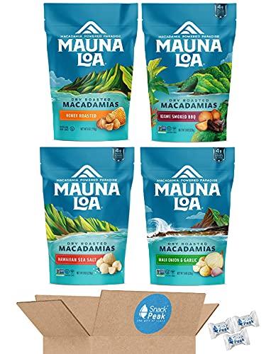 Mauna Loa Macadamia Nuts Large 8 oz Bags Snack Peak Variety Gift Box – Hawaiian Sea Salt, Maui Onion and Garlic, Honey Roasted, and Kiawe Smoked BBQ