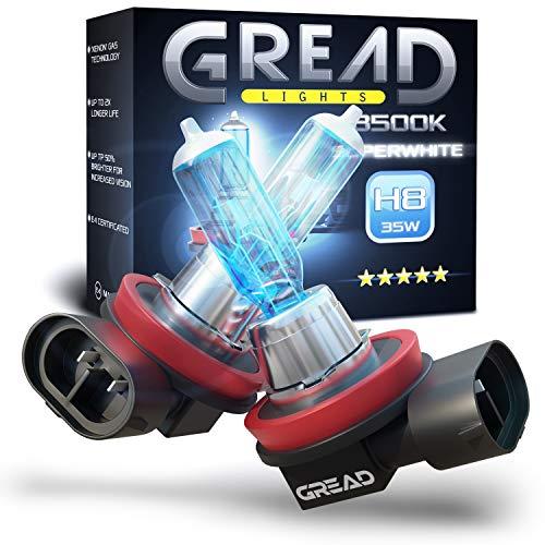 Gread - 2x H8 Halogenlampe Xenon Style - weiss - 8500k 35W - E-Prüfzeichen