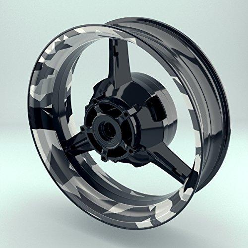 OneWheel Felgenrandaufkleber Motorrad 4er Komplett-Set (17 Zoll) - Felgenaufkleber Camouflage Snow (schwarz-weiß) (Design 1 - glänzend)