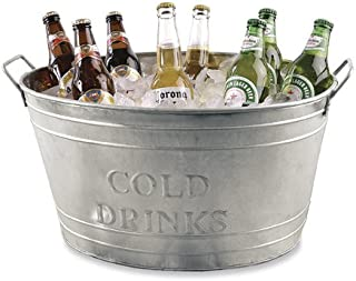 Farmhouse Oval Galvanized Steel Beverage Tubs with Handles (Cold Drinks)