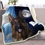Manta Sherpa de Perro 3D en la Cama Manta de Tiro de Perro de Pastor alemán Cubrecamas de Animales Día y Noche Funda de sofá Sky Moon, Perro 3,150cmx200cm