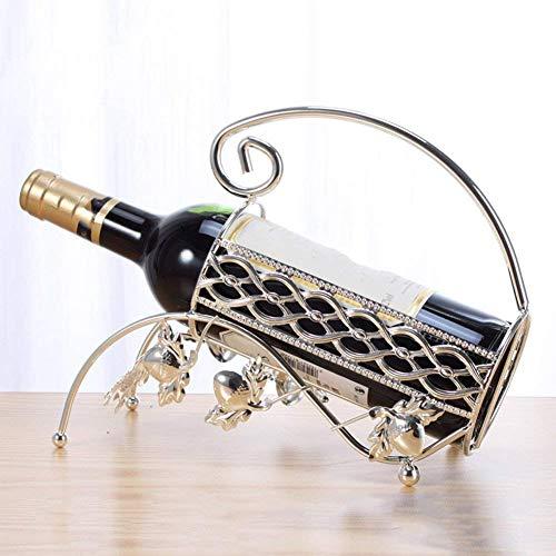 Botellero de Vino Tradicional Botellero de Vino Estante de Aleación de Zinc Decoración de Moda Acero Inoxidable Wineto Nordic Creative Plateado Regalo Perfecto, Yue WenMing